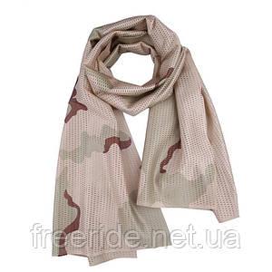Тактический маскировочный сетчатый шарф (армейский) камуфляж песок