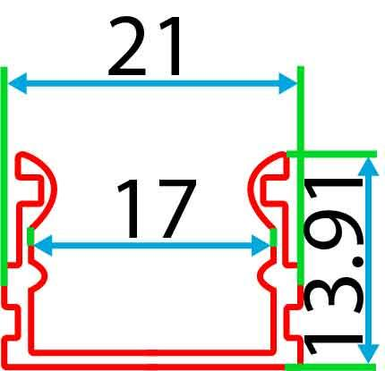 Накладний алюмінієвий профіль разом з розсіювачем 2 м для LED стрічки АЛ-02-3, фото 4