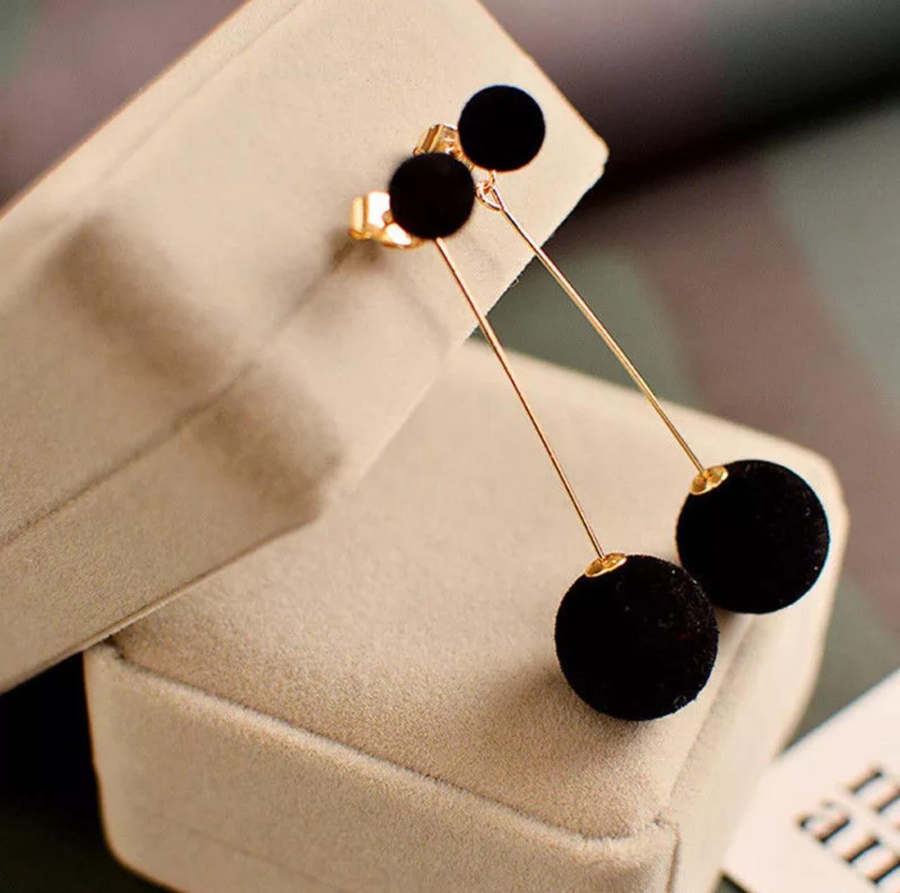 Серьги/сережки длинные с черными шариками «Night look» (черный)