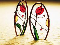 "Серьги ""Красный тюльпан"" от WickerRing"