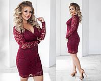 Короткое гипюровое женское платье с красивым декольте.Размеры : 48, 50, 52, 54.   + Цвета, фото 1
