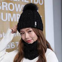 Набор женская теплая вязаная шапка с меховым бубоном (помпоном) и шарф-хомут черный