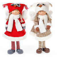 Мягкая новогодняя игрушка Ангел в шапке сова 52см, 2 вида, красивый декор на Новый год, набор 2 шт