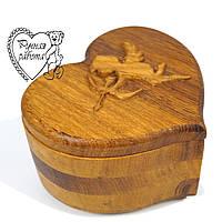 Шкатулка дерев'яна серце ангел 11 см, глибина 5 см