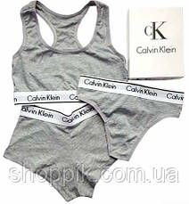 Набор Calvin Klein (стринги, шортики, топик) КОПИЯ, фото 3