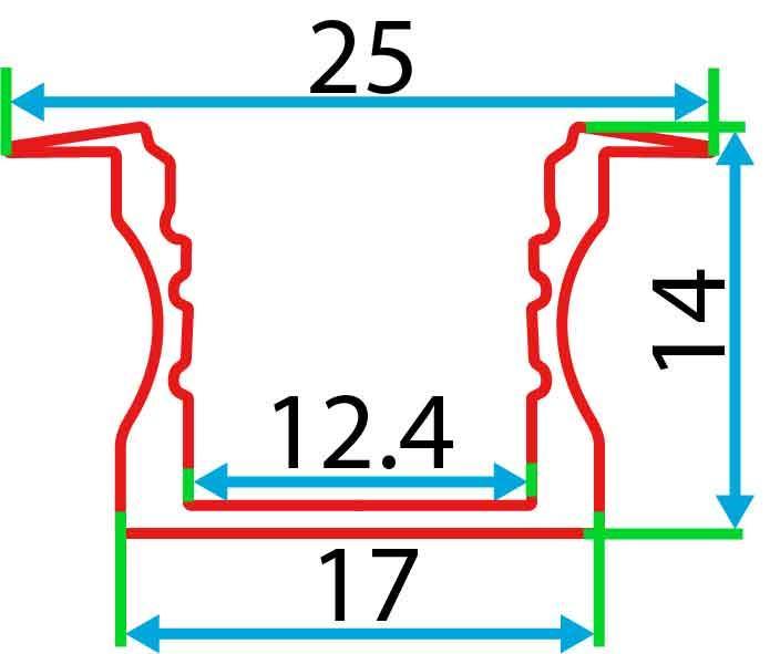 Врізний алюмінієвий профіль разом з розсіювачем 2 м для LED стрічки АЛ-03, фото 2