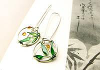 """Серебряные сережки """"Листья бамбука"""" от WickerRing"""