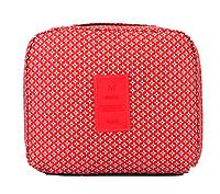 Органайзер-косметичка дорожная Gena Travel 21*16*8 см, ромбики на красном