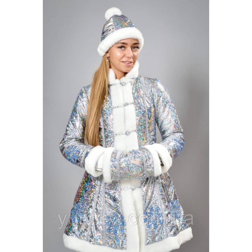 """Карнавальный костюм из  бифлекса голубая """"Снегурочка взрослая"""", размер 44,48"""