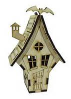Деревянный домик №17 узкий с летучей мышью,9х9х13 см Атлас AS-4266