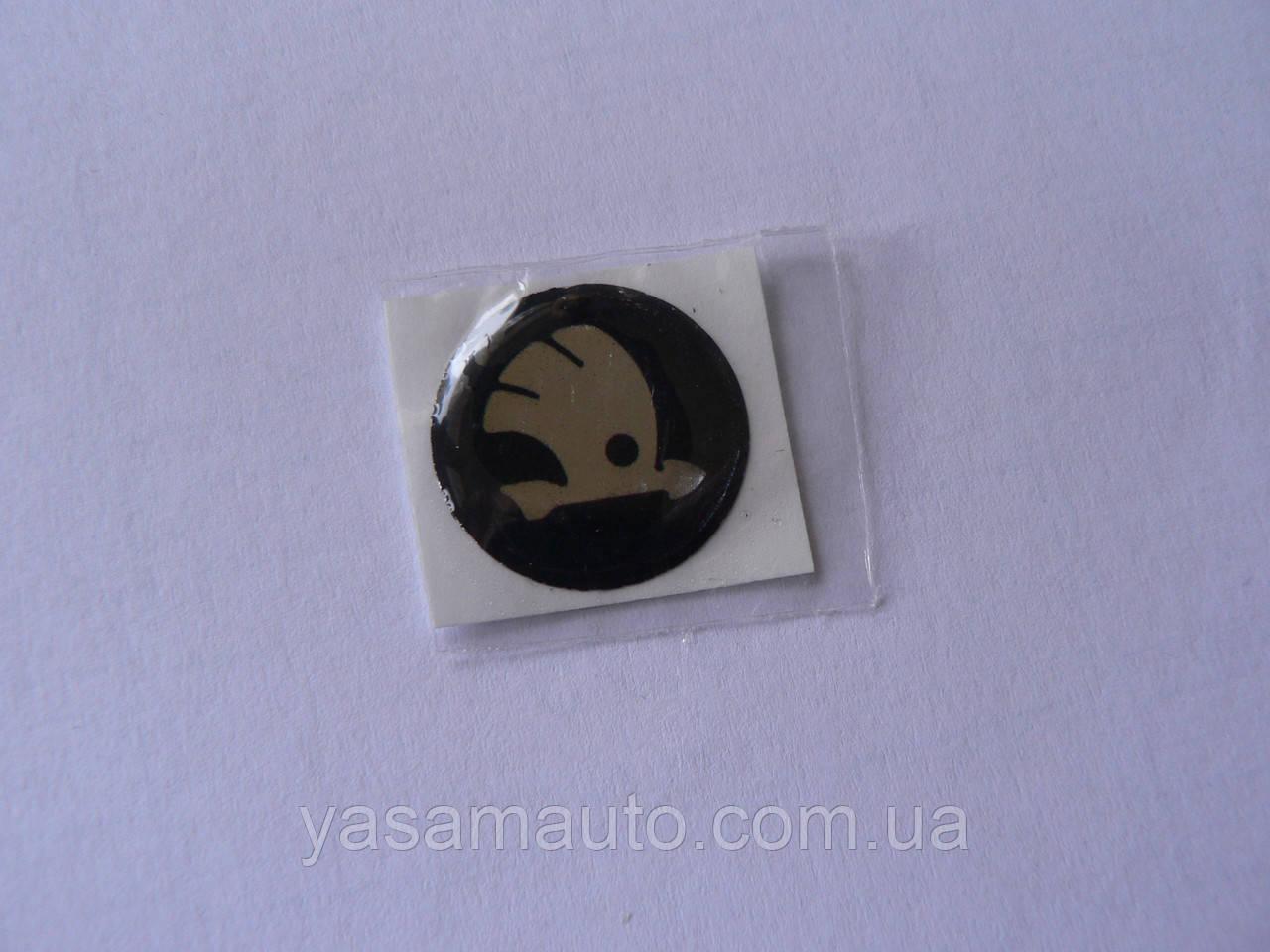 Наклейка s круглая Skoda 20х20х1.2мм серебристая силиконовая эмблема логотип бренд в круге на авто  Уценка
