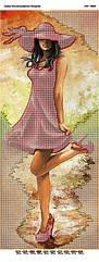 Схема для вышивки бисером Девушка в красном