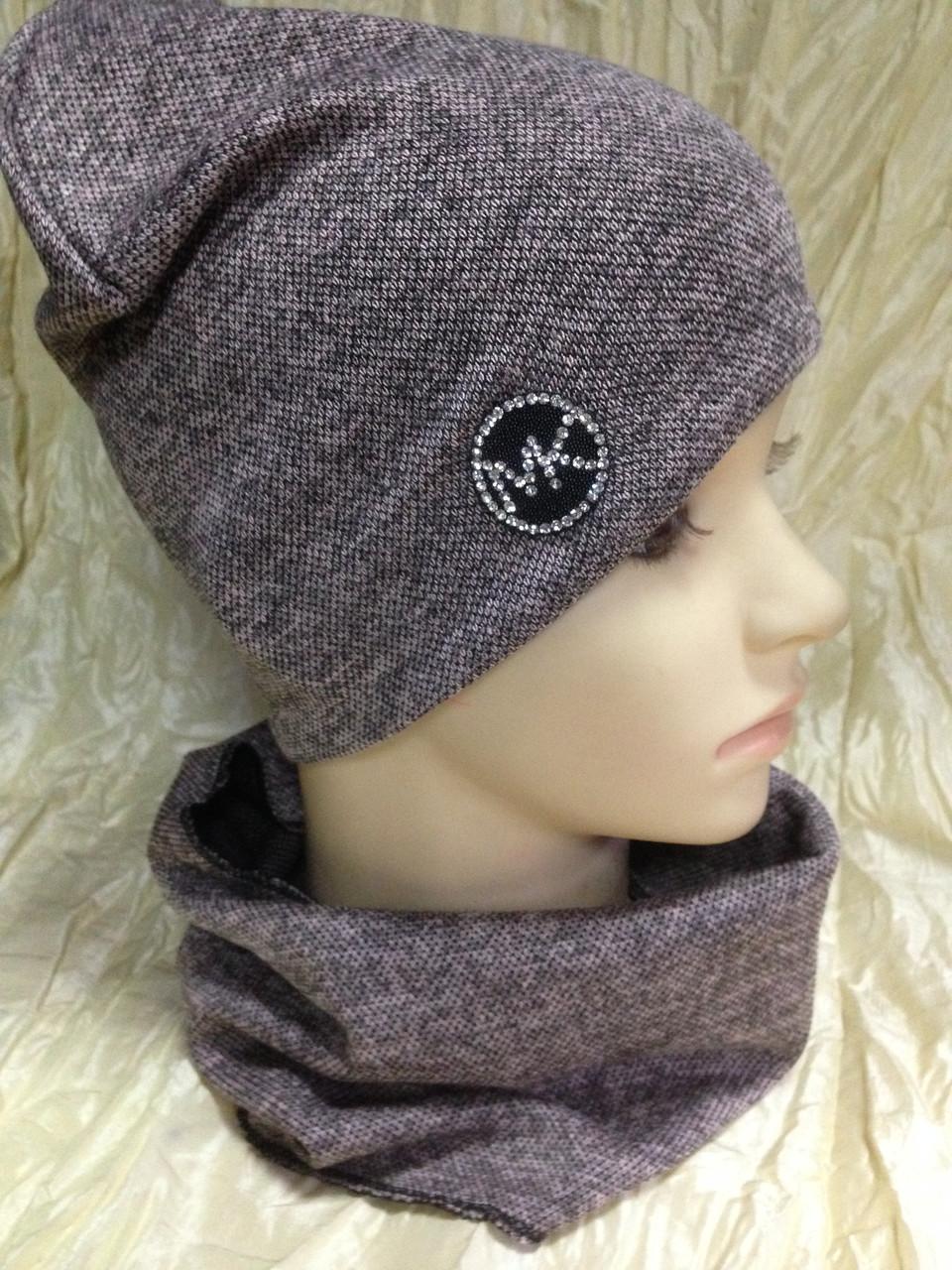 Демисезонный  комплект шапка +шарф труба-бафф цвет грязно розовый