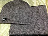 Демисезонный  комплект шапка +шарф труба-бафф цвет грязно розовый, фото 3