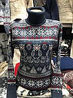 Вовняний жіночий в'язаний светр з малюнком, синій.Туреччина, фото 1