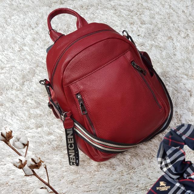 Стильный женский рюкзак из натуральной кожи винный