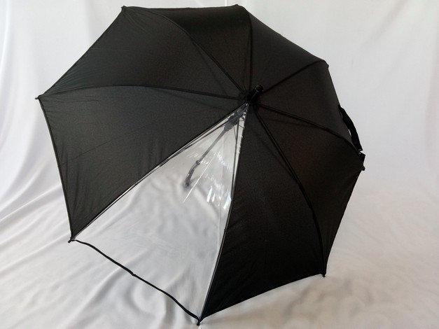 Зонт трость унисекс с прозрачным сегментом на 8 спиц цвет черный