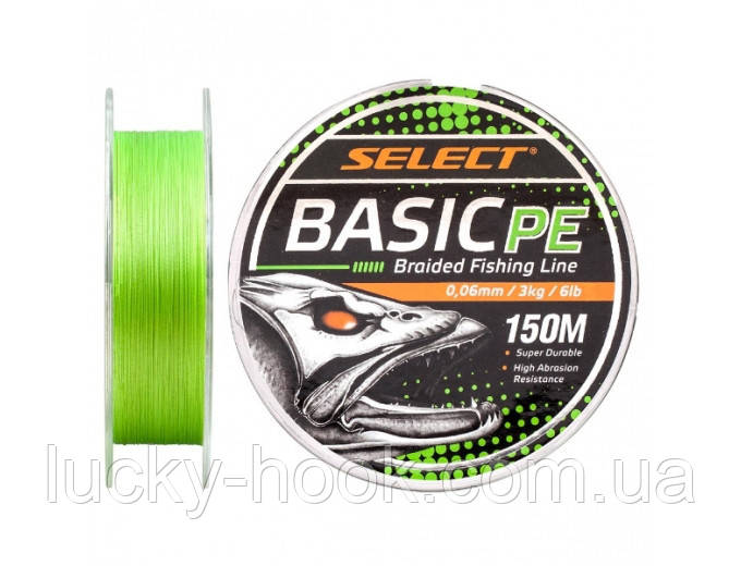 Шнур Select Basic PE 150m (салат.) 0.22mm 30lb/13.6kg