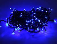 Внутренняя Гирлянда светодиодная нить 16м, 300 led  черный провод - цвет синий