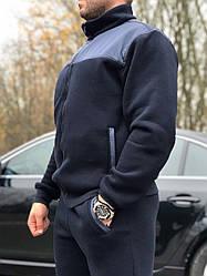 Утепленный мужской спортивный костюм, на байке, синего цвета от производителя