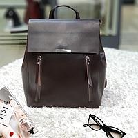 Стильный женский рюкзак из натуральной кожи коричневый, фото 1