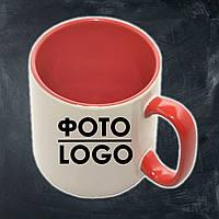 Кружка с фото/логотипом керамическая красная