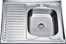 Накладная кухонная мойка из нержавеющей стали Platinum 8060 Сатин 0,7 Лева/Правая