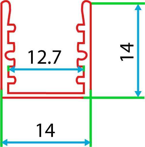 Накладний алюмінієвий профіль разом з розсіювачем 2 м для LED стрічки АЛ-04-1, фото 2