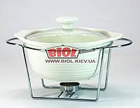 Круглий марміт 19,5 см керамічний на підставці (1 свічка) білий Maestro MR-10960-72, фото 1