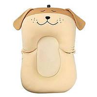 Противоскользящий детские коврик для ванной — Бежевая  собачка. Складная новорожденная купальная подушка