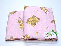 Детский байковый (фланель) постельный комплект  (розовый с мишками)