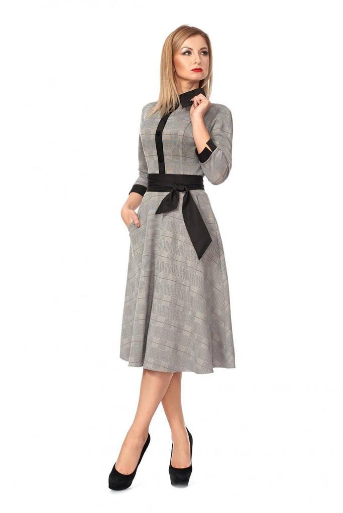 9c8d48ea911 Модное красивое трикотажное платье зима 2019 цвет  коричневый ...