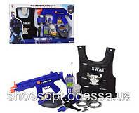 Детский полицейский набор 9 аксессуаров: рация (свет, звук), автомат, жилет, маска
