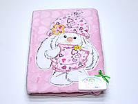 Детский флисовый плед ( розовый с аппликацией зайка)