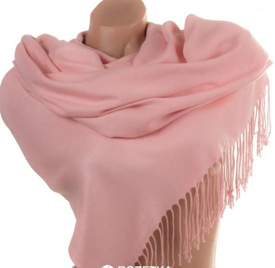 Кашемировый однотонный  палантин с бахромой цвет розовый