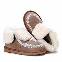 Красивые тёплые ботинки с отворотом без застёжек