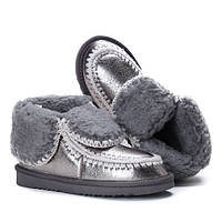 Серебристые зимние ботинки с отворотом от производителя