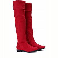 Шикарные красного цвета сапоги-ботфорты с Польши, фото 1