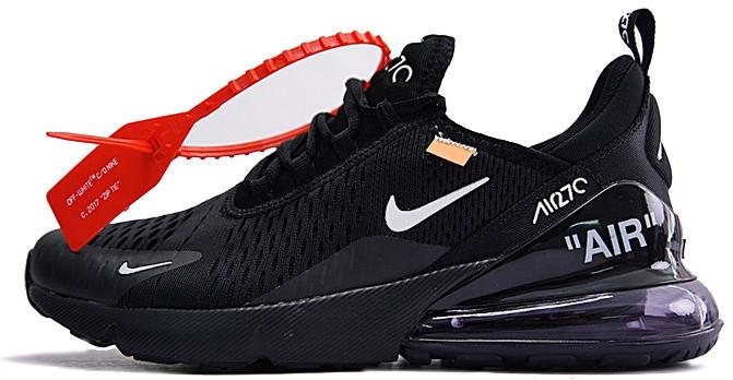 Мужские кроссовки Off-White x Nike Air Max 270 'Black' (Найк Аир Макс) черные
