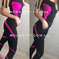 Женский костюм для фитнеса с футболкой и лосинами милитари