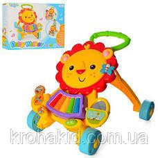 """Ходунки / каталка / Музыкальный толокар """"Весёлый львёнок"""" Baby Walker 869-52, фото 3"""
