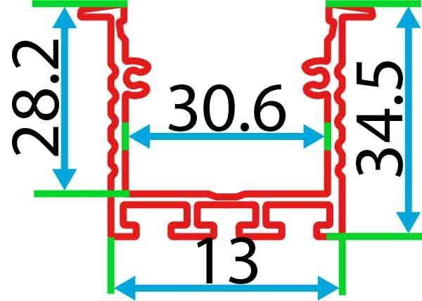 Врізний алюмінієвий профіль разом з розсіювачем 2 м для LED стрічки АЛ-17, фото 2
