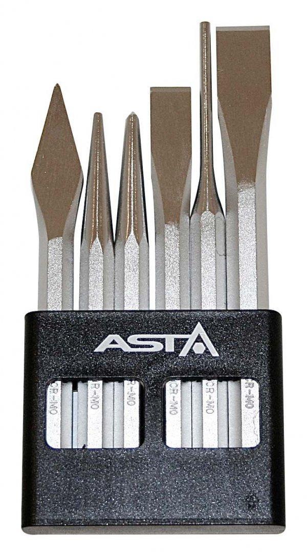 Долото ударные -набор 6ед., Cr-Mo ASTA A-6CCS