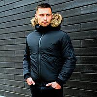 Зимняя мужская куртка, куртка-бомбер, чоловіча зимова куртка (черный)