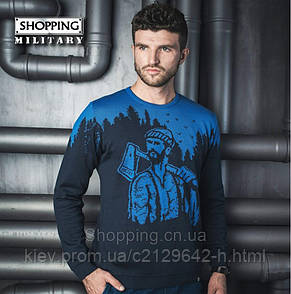 Свитер мужской черный с синим теплый вязаный Лесоруб