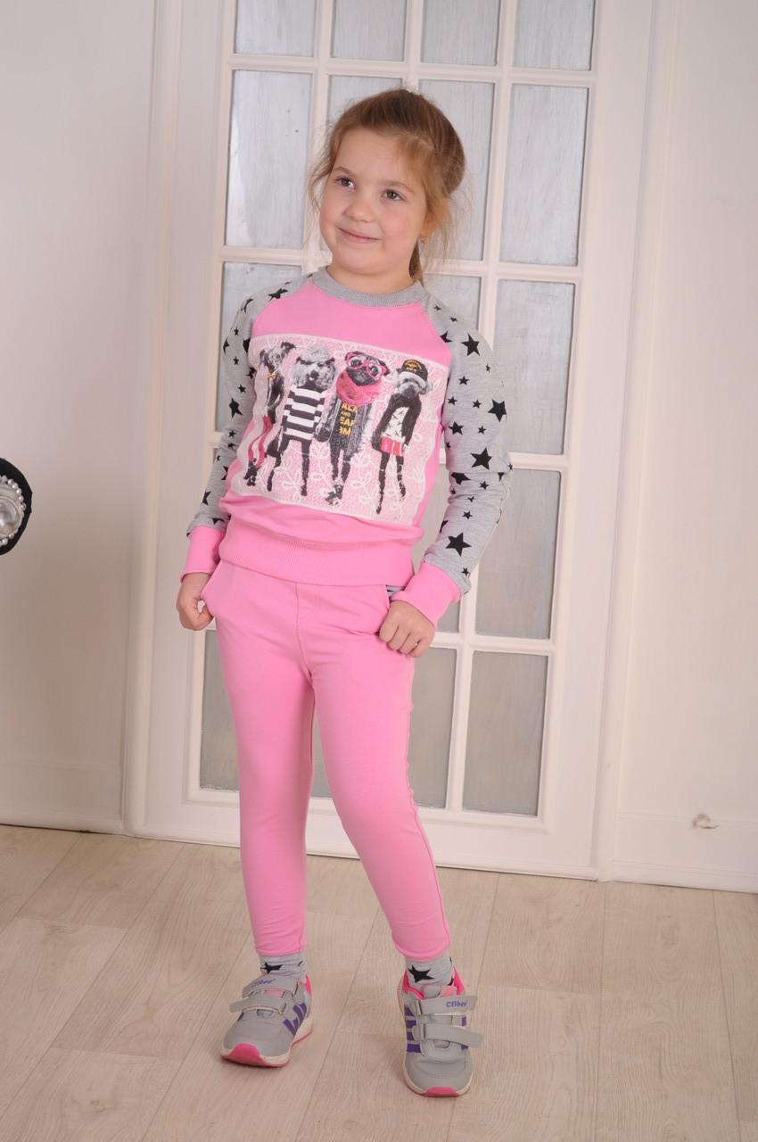 """Спортивный костюм для девочки  розовый  """"Fashionable dogs""""от 6 до 10 лет(116;122;128;134;140)"""