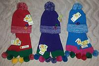Тёплый набор из шапки и шарфа для мальчика и девочки осень-зима.