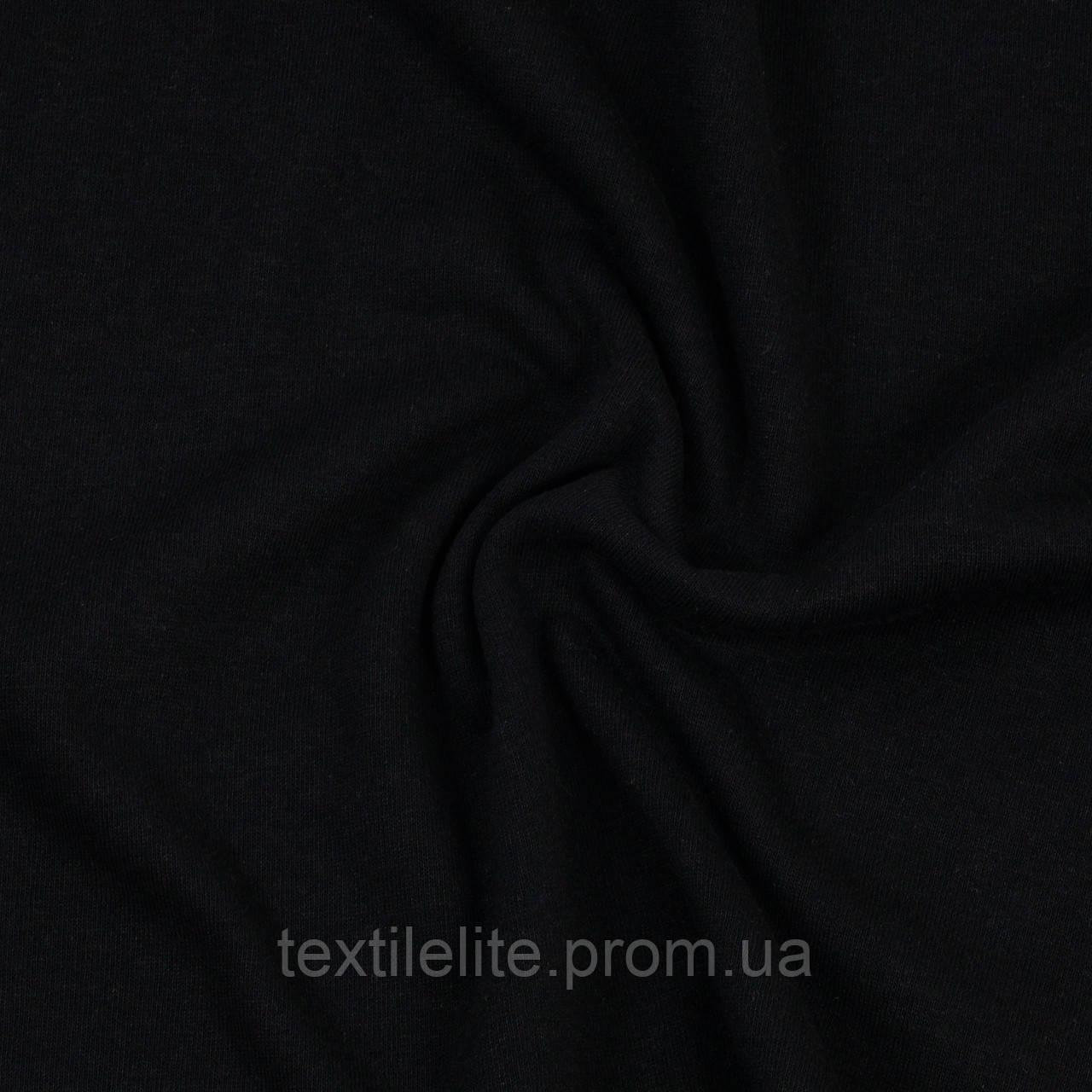 Ткань кулирная гладь. Цвет Черный. Трикотаж в рулонах. Хлопок 100%