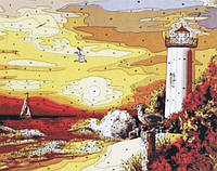 Раскраска по цифрам 40×50 см. Маяк на пляже, фото 1