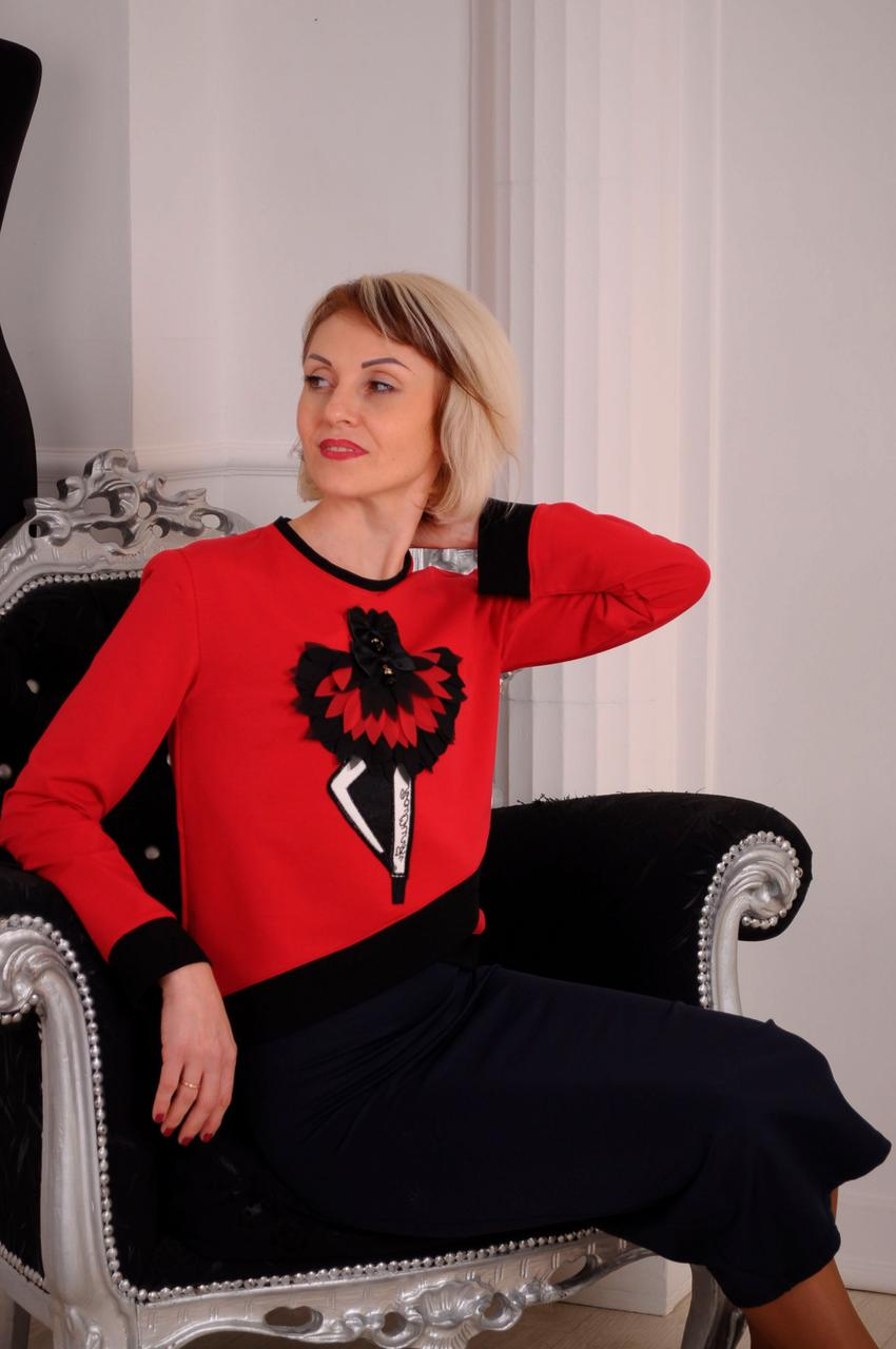 """Женский свитшот красный, на запах """" ballerina"""" размеры 40-46"""